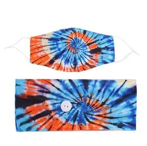 Cravate Dye Hair Band Masques Set Motif Spiral Bouton anti-laisse Masque de cheveux HeadsCarf Accessoires de Yoga Mouvement Elastic Bandeau Ewc2656