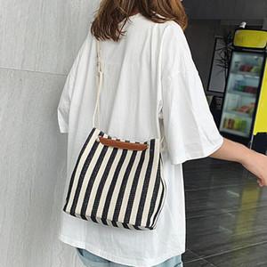 Women bag Striped Canvas Handbags Black Bucket Shoulder Bags Ladies Crossbody Bags Large Capacity Ladies Shopping Bucket Bag