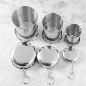 Zusammenklappbar Reise Tumbler tragbare Falten Glas 250ml / 8 Unzen 150ml / 5 Unzen 70ml / 2 Unzen Edelstahl-Wasser-Cup-Bierkrug mit Schlüsselkette