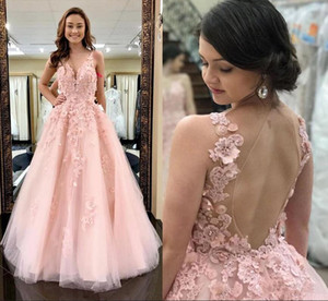 Sweet Coral 2021 Prom Dresses Open Back A Line Tulle Formal Evening Gowns V Neck 3D Applique Lace Sleeveless Party Dress Vestidos De Fiesta