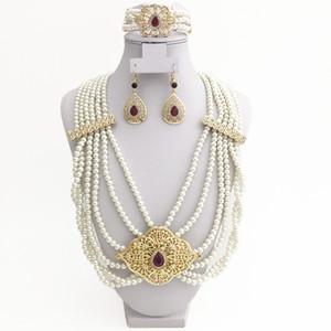 African Bridal Golden Pearl Accessories Luxury Algiers Algeria Wedding Jewelry Handmade Necklace Earring Bracelet Bridal Gift