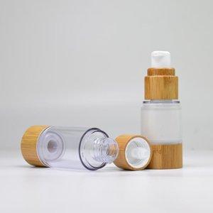 15ml / 30ml / 50ml Bouteille de maquillage portable réutilisable vide cosmétiques Lotion Essence de stockage Bouteille Bamboo Vider Voyage