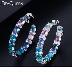 BeaQueen New Big Oval Round Pink Blue Green Multicolored Cubic Zirconia Rainbow Crystal Circle Hoop Earrings Women Jewelry E302 1THZ#