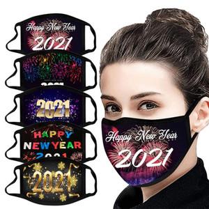 11 Styles Chrismas Masque 2021 Bonne Année Masques Designer Party Masque Masque lavable Réutilisable Masques de protection Imprimé numérique
