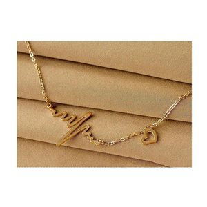Fashion Simple Notes Ecg Heart Frequency Collarbone Necklace Heart Feel Pendants Sweater Necklace Women Whole sqcdzm beauty888