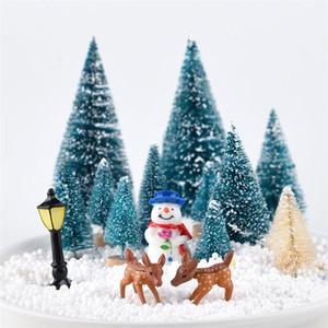 Искусственные матовые сизальные рождественские елки бутылка для бутылки кисти с деревянной основой DIY ремесел Мини сосна рождественские рождественские дома столичный декор HWE2427