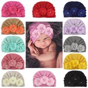 ARLONEET Neugeborenes Baby-Mädchen-Strick Korn Turban-Hut-Haar-Band Mütze Kopfbedeckung Cap Sets mit Pom Pom Baby Beanie