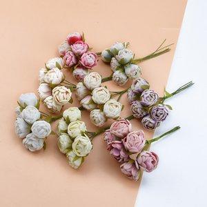 6pcs / Bündel Tee-Rosen-künstliche Blumen-Blumenstrauß-Geschenk-Kasten Künstliche Blumen Weihnachtsgirlande Hochzeitsdekoration Zubehör