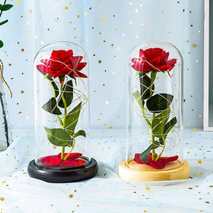 Everlasting Flower Glass Cover Valentine's Day Creative Gift Rose Flower Gift Box Romantic Artificial Decoration Sea Shipping IIA755