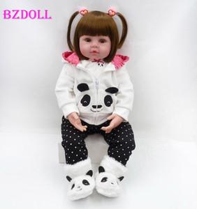 """BZDOLL silicona renacido de la muñeca 19"""" 48 cm de tela bebés cuerpo Muñecas Bebe Panda Realista muñeca de moda recién nacido realista 1011"""
