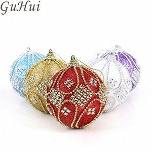 Catena 5pc Bead Decorazioni di Natale di diamante Schiuma palle da 8 cm Sticky Drill Natale palle Xmas Tree Hanging Capodanno casa 7AER #