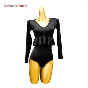 Dance latine Female Adulte Sexy Top Performance Body Costume Nouveau National Standard Dancewear Profession Compétition Onessies1