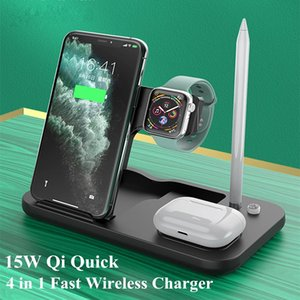 15W Qi Wireless Charger 4 in 1 Fast Charging Stand For iPhone 12 11 Pro XS For Apple Watch 6 5 4 3 AirPods 2 Pro Pencil Charge