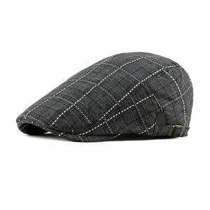 Erkek Casual Kontrollü Şapka Berets Pamuk Bahar Yaz Sonbahar1