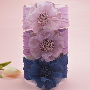 Baby-Blumen-Stirnband-Haar-Chiffon- Blumen Baby-elastische Spitze Haarbänder Säuglingsstirnband für Mädchen Kopfbedeckung Mädchen Zubehör KKF2203