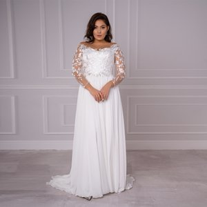 2021 Chiffon Plus Size Wedding New Arrival Sexy Boat Neck Long Sleeves Lace Applique a Line Sweep Train Bridal Gown I802