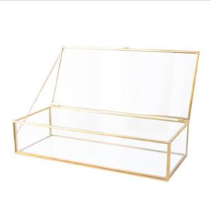 Laço do ouro óculos Jóias caixa retangular jewely Tabela caixa de armazenamento de alimentação Ornamento Europa Bines casamento cobre presente Decoração LSK1605