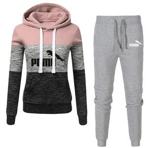 Inverno Treino Mulheres 2 Piece Set Imprimir Hoodies + calças terno Sportwear Mulheres Sports moletom com capuz Set Feminino Marca Roupa C1114