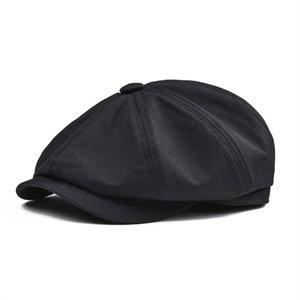 Sboy القبعات BOTVELA كاب الرجال حك القطن ثمانية لوحة قبعة المرأة بيكر صبي قبعات الرجعية كبيرة كبيرة ذكر boina أسود قبعة 003