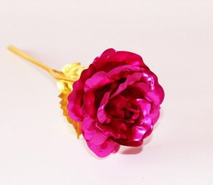 Flower Romantic 24K Gold Plating Golden Rose Foil Plated Artificial Wedding Festive Party Valentine Day Gift 3 NW92W