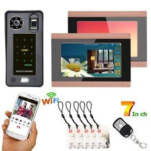 Видео Дверные телефоны 2 Мониторы 7-дюймовые проводные WiFi Fifi IC Card Phone Hoolbell Intercom System с системой управления доступом, SUPPO