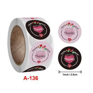 Hot Sale Black White Pink Flower Thanks I LOVE YOU Sealing Label Kraft Sticker Baking DIY Round Gift Stickers