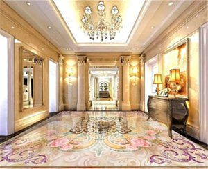 Custom Retail 3D European And American Style Mandala Classical Pattern Marble Floor Decorative Mural
