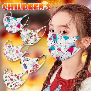 Máscaras Máscaras de Natal Adulto Crianças cara impresso voltado Xmas Anti Poeira nevoeiro floco de neve cobrir a boca respirável lavável reutilizável