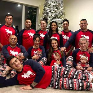 Europeia e da América de Natal Popular roupas domésticos pai-filho Pijamas Set Red alces infantis roupas de Natal