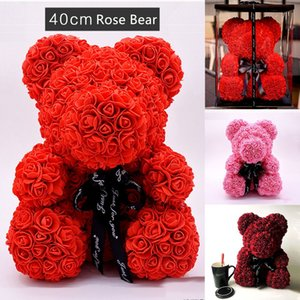 40cm PE Plastic Artificial Flowers Rose Bear Foam Rose Flower Teddy Bear Valentines Day Gift Birthday Party Decoration with Retail Box