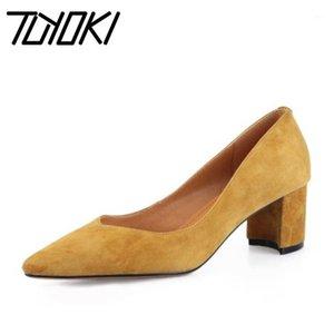 Tuyoki Mujer Bombas Zapatos de cuero reales Mujeres Fiesta de mujer Boda puntiaguda Damas Vestimenta Bombas Calzado Tamaño 33-411
