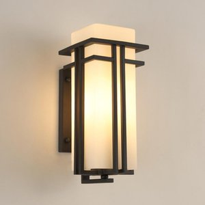 Outdoor Wall Lamp Simple Chinese Waterproof Exterior Wall Garden Lamp Aisle Outdoor Terrace Patio Hallway Solar Lawn