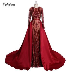 Burgundy Long Sleeves Luxury Mermaid Evening Dress Prom Dresses Appliques With Train Evening Gowns 2020 vestidos de fiesta