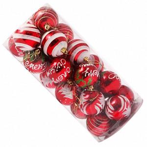 24pcs Рождество 6CM Пластиковые украшения рождественской елки шарика BQnu #