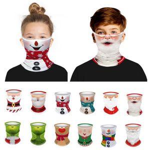 Chirstmas Kids Face Mask Headband Bandanas for Children Neckerchief Magic Cycling Scarf Outdoor Sports Bandana Headwear Headscarf Party Mask