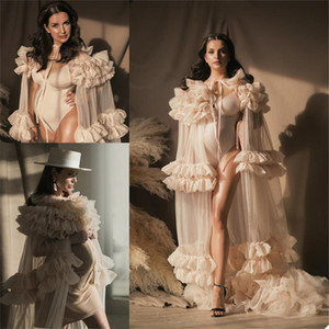 2021 Illusion Ruffles Women Jackets Sexy Kimono Pregnant Party Sleepwear Women Bathrobe Sheer Nightgown Robes Shawl Customise Bridal Wrap