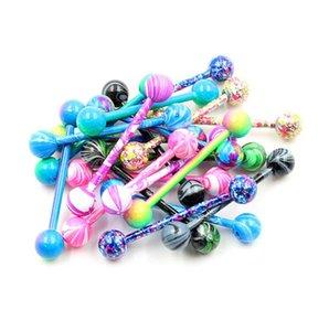 Bulk Colorful Flexible Barbell Stud Tongue Ring Ball Bars Body Piercing ps2033