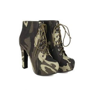 Womens Platform Ankle Boots Lace Up Camouflage Block High 12CM Heel Shoes Warm Winter Punk Motorcycle Black Plus Size 34-43