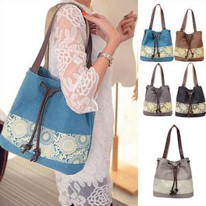 Fashion Women Canvas Shoulder Bag Flower Bags Big Capacity Drawstring Tote Casual Shopping Handbag New