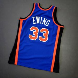 Barato Retro Custom # 33 Patrick Ewing cosido azul Mitchell Ness baloncesto de la universidad los hombres del jersey cualquier tamaño 2XS-3XL 4XL 5XL Nombre Número Chaleco