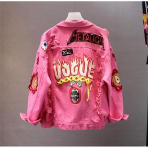 레드 / 옐로우 청바지 재킷 새로운 봄 가을 여성 낙서 알파벳 인쇄 레이스 활 핀 구멍 데님 코트 학생 기본 코트 LJ201021