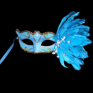 A-Masquerade Mujer sexy Medio cara Multi Color Princess Halloween Máscaras Nuevo Estilo Mini Mascarilla de encaje de plumas DHE1435