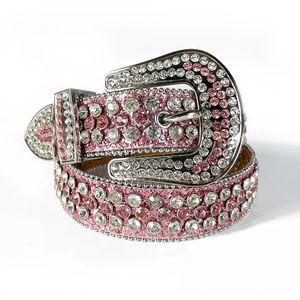 Custom Made Western Rhinestone Belt Cowgirl Bling Bling Crystal Studded Leather Belt Pin Buckle For Women