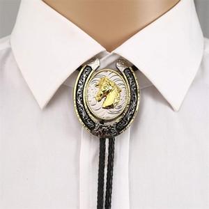 U shape gold 3D eagle horse animal bolo tie for man cowboy western cowgirl lather rope zinc alloy necktie Vintage color 201028