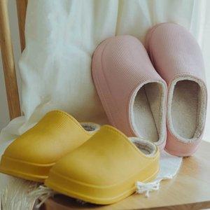 Lizeruee Женщины EVA тапочки зима теплая зима 2020 Водонепроницаемый Хлопок тапочки Плюшевые водонепроницаемый дом толстым дном обувь мужчины X1020