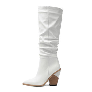 2020 Fashion women boots thick high heels knee high boots pointed toe black khaki white quality knee