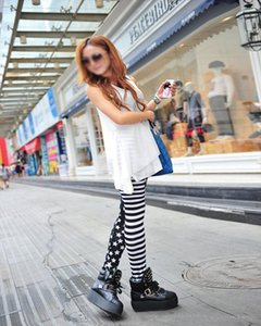 womens leggings SYB Woman Leggings Black with Stripes and Stars Pattern White Fashionable Drop Shipping Good Quality