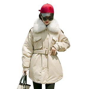Real Fur 2020 Loose Women Winter Jacket Down Parka Warm Thicken Ladies Coat White Duck Down Jacket Female Long Coats