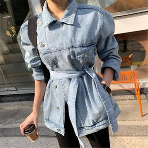 CBAFU asymmetrical women denim coats lace up long sleeve female jeans coat spring autumn oversize casual jackets button P712