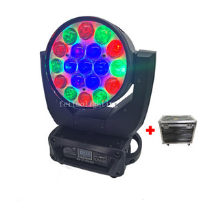 4pcs+Flight Case New Dmx Led Zoom Moving Head Wash 19 x 15w Rgbw 4in1 Ring Control Lyre Led Zoom Moving Head Light
